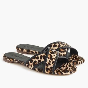 J Crew Leopard Cora crisscross sandal, 8.5